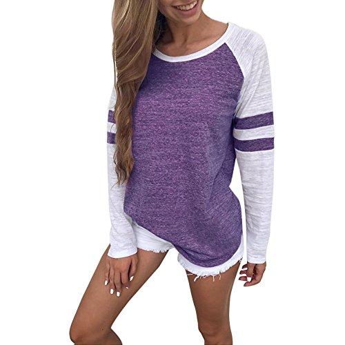 Damen Streifen Langarmshirt Tops MYMYG Elegant Lose Baseball T-Shirt Sweatshirt Bluse(E6-Purple,EU:50/CN-4XL)