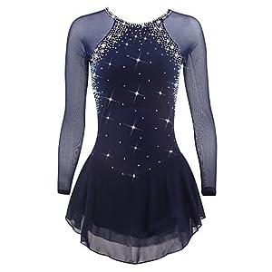 Heart&M Eiskunstlauf Kleid für Mädchen Frauen, Rollschuhkleid Professionel Leistung Wettbewerb Kostüm Kristalle Eislauf Kleider Langärmelig Dunkelblau