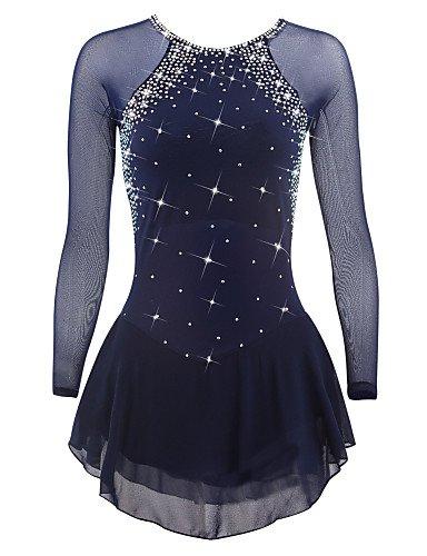 Heart&M Eiskunstlauf Kleid für Frauen Mädchen Rollschuhkleid Professionel Leistung Wettbewerb Kostüm Kristalle Eislauf Kleider Langärmelig Dunkelblau