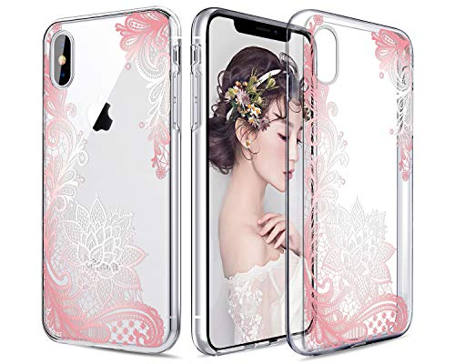 Casetego Compatible iPhone XS Hülle,Clear Soft Flexible TPU Hülle Rubber Silicone Skin with Flowers Floral Printed Back Cover for Apple iPhone XS 5.8