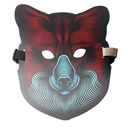 JK Sound Reactive LED Maske, beleuchtet Musik Maske, gruselige Cool Light Maske für Festival, Party, Halloween, Karneval, Tanzball, Maskenaden, Cosplay DJ Maske one size for all fuchs