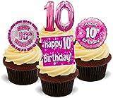 10. Geburtstags Mädchen Rosa Mix - 12 essbare Standup Kuchen-Deko, Kuchendekorationen, essbar, Premium, 2 x A5, für 12 Bilder