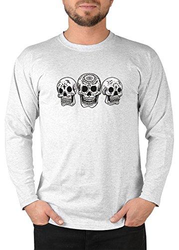 Totenkopf Skelett Longsleeve Herren : 3 Skulls - Day of the dead -- Herren Langarmshirt Grau