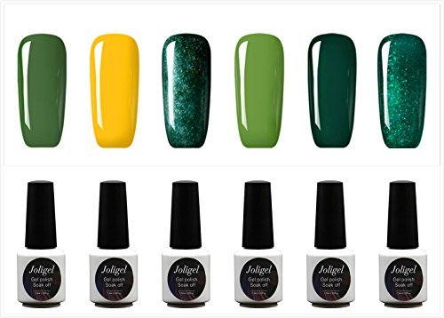 JOLIGEL Nagellack Set 6pcs Gel Farben für Nägel UV LED Soak Off Semi-Permanent für Maniküre 7,3ML, Gel Lack Sternenklarer Glanzeffekt, Ungiftig Naturharz, 05 (Frischgrün)