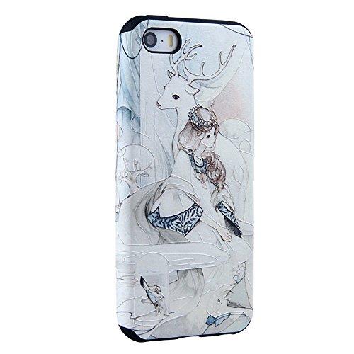 UKDANDANWEI Apple iPhone 5S Hülle - TPU 3D Silikon Schutzhülle Handyhülle kratzfeste stoßdämpfende Case für Apple iPhone SE/5/5S [CCD002] CCD017