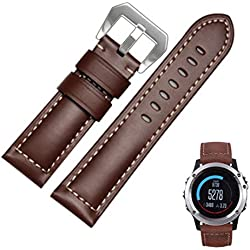 Garmin Replacement Watch Band, Fulltime(TM) Genuine Leather Watch Replacement Band Strap For Garmin Fenix 3 with Lugs Adapters