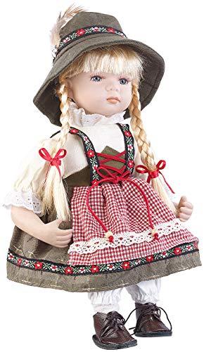 PEARL Deko-Puppe: Sammler-Porzellan-Puppe Anna mit bayerischer Tracht, 34 cm (Deko-Puppe Porzellan) -