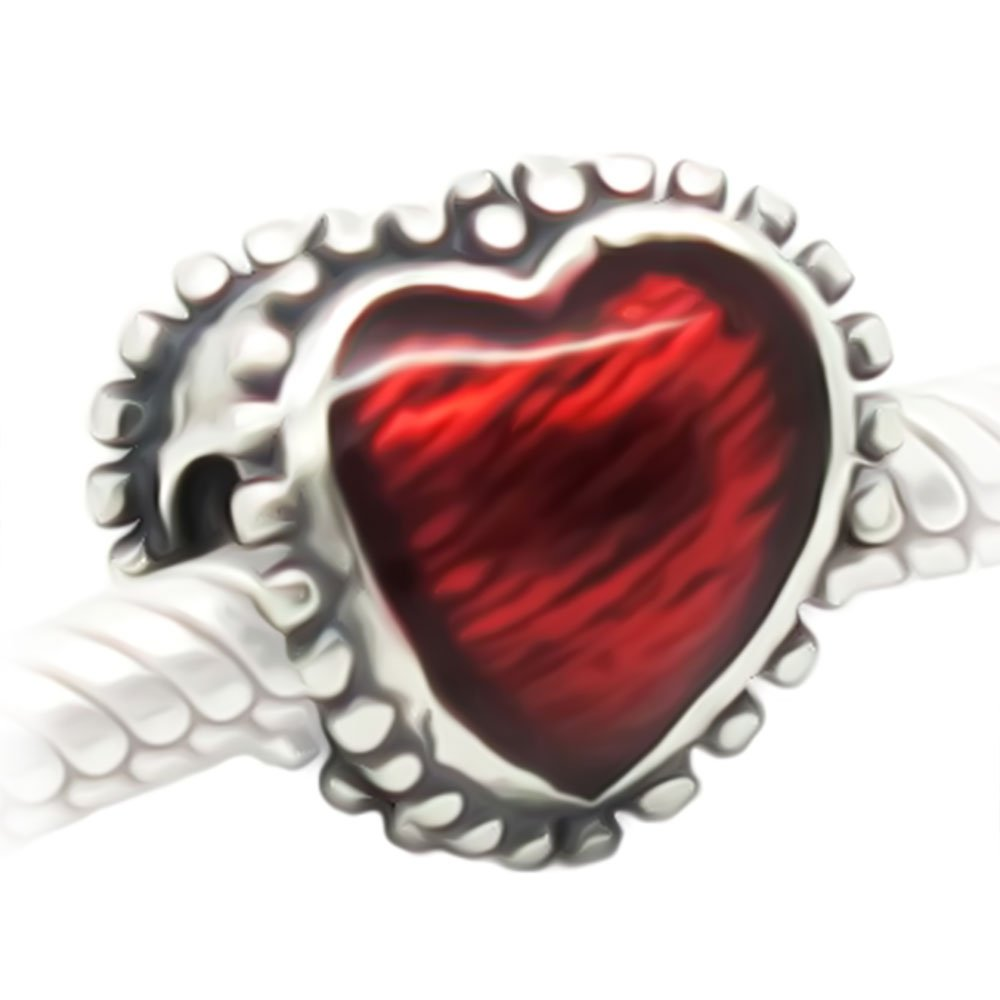 Red Love Heart Charm – Vintage Style Bead S925 Sterling Silver fits Women's Charms Bracelet – Gift boxed