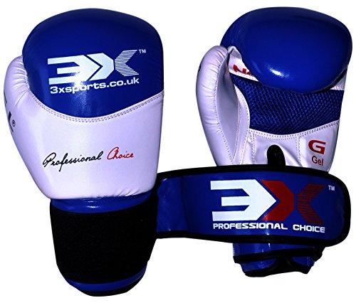 Boxhandschuhe Muay Thai Kick Boxen Leder Gel Gepolstert Handschuhe Boxsack Fight Sparring MMA UFC Martial Arts Training Kuh Hide Leder Handschuhe, blau / weiß (Boxer Kuh)