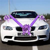 Time to Sparkle 6 Bows + 2 * 7M Ribbon Wedding Car Ribbon Decoration Kit Wrapping Large Bow, Cadbury Purple