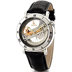 Alienwork IK Automatic Watch Self-winding Skeleton Mechanical Water Resistant 5ATM Leather silver black 98399-MS-SB