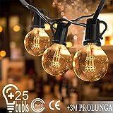 Catena di lampadine da esterno Illuminazione Giardino Luci Stringa con 25 G40 Bulbi 7.62m (3 m cavo di prolunga impermeabile e 2 bulbi di ricambio) per Matrimonio/Natale/ Halloween/Cortili/Festa