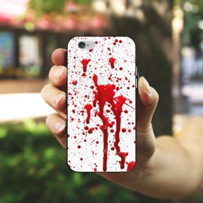 Apple iPhone X Silikon Hülle Case Schutzhülle Blut Halloween Gothic Silikon Case schwarz / weiß