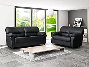 Brand New Candy 3+2 Faux Leather Sofa Suite In Black