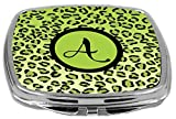 Rikki Knight Compact Mirror, Letter A Initial Lime Green Leopard Print