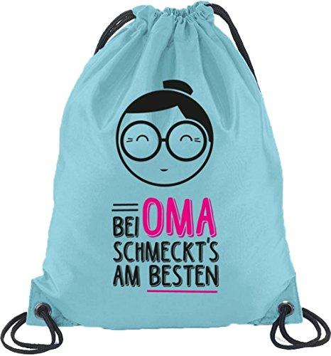Bei Oma schmeckts am besten, Muttertag Turnbeutel Rucksack Sport Beutel Hellblau