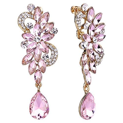 Clearine orecchini a clip boemo boho cristallo fiore sposa di nozze lacrima luminoso lungo mazzo di fiore clip-on orecchini a clip pendenti rosa chiaro oro-fondo