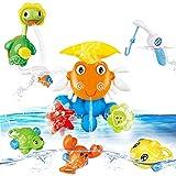 NUÜR Badewannenspielzeug für Babys, Tintenfisch Schildkröte Spielzeug für Badewanne Wassermühle Dusche Wasser Spray Badespielzeug mit Magnetische Angelrute für Kleinkind