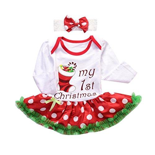 Longra Baby Kleidung Set Mädchen Weihnachtsoutfit Baby Kleid Tütü Bodys Weihnachten Langarm Strampler Overall Stirnband Weihnachtskostüm (White, 80CM 6Monate) (Tutu Weiß Tüll Cute)