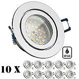 10er IP44 LED Einbaustrahler Set Chrom mit LED GU10 Markenstrahler von LEDANDO - 4,5W - warmweiss - 120° Abstrahlwinkel - Feuchtraum / Badezimmer - 30W Ersatz - A+ - LED Spot 4,5 Watt - rund