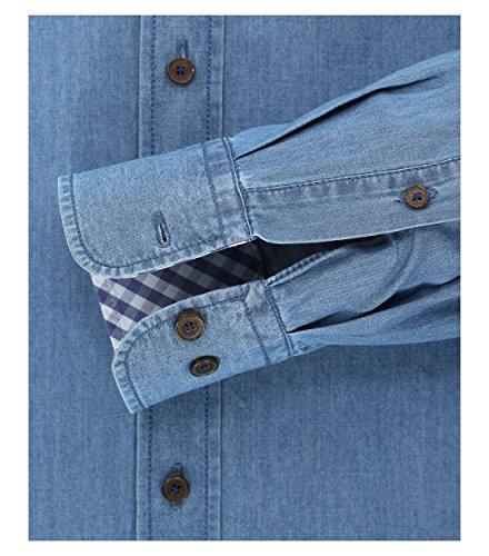 CASAMODA Herren Freizeithemd 006303 Mittelblau - uni (102)