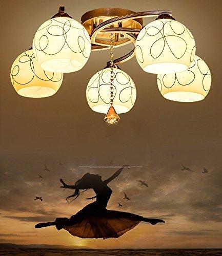 GBT Inimalist Wohnzimmer Deckenleuchte Kristall Warm und Romantisch Schlafzimmer Lampe Restaurant Kronleuchter Lampe Led Light Study of Art),5 Lichter (ohne Licht) - 5 Lite Kristall Lampe