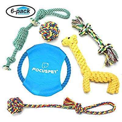 Dog Rope Toys, Focuspet Puppy Toys Set Pet Braided Rope Toys Puppy Chew Durable Interactive Cotton Toys Dental Health Teeth Cleaning for Small/Medium/Large sized Dog Biting Toys 6 Pack