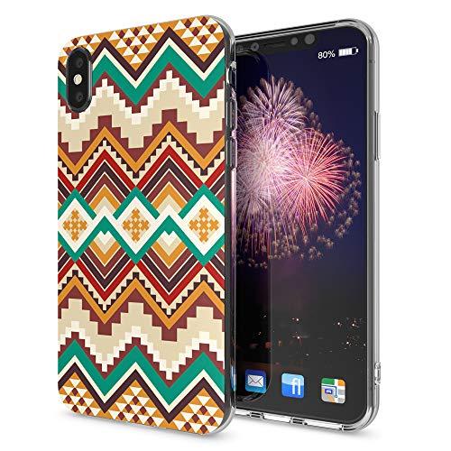 NALIA Handyhülle kompatibel mit iPhone X XS, Motiv Design Schutzhülle Slim Silikon Case, Crystal Handy-Tasche Hülle Back-Cover Dünn Durchsichtig, Smart-Phone Bumper Etui, Designs:Indian Pattern Pattern Design Case