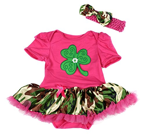 St Patricks Day Clover Leaf Bodysuit Camouflage Girl Cloth Baby Dress Nb-18m (3-6 Monats) (St Patricks Day Baby Mädchen Outfit)