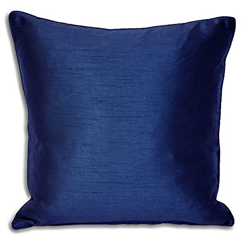 Riva Paoletti Fiji Federfüllung Faux Silk-Matching Paspel Edges-Reversible-Hidden Zip closure-100% case-Machine waschbar (43,2x 43,2cm Zoll), Polyester, Royal Blau, 43x 43cm -
