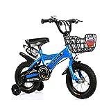 FINLR-Kinderfahrräder Jungen-Mädchen-Baby Kinderfahrräder Kinder Pedal Fahrrad 4 Farben 12/14/16/18/20 Zoll  Mit Flaschenhalterstabilisatoren Und Korb (Color : Blue, Size : 18 inches)