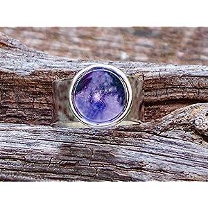Bottled Up Designs Anfang 1900 lila Medizin Flasche Glas Gem verstellbarer Ring recycelt
