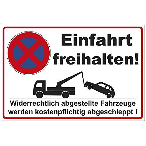"""Schild 300x200 mm \""""Einfahrt freihalten\"""", stabil aus Alu / Dibond - 3 mm stark"""