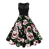 Kleid DELLIN Frauen Floral Elegant Sleeveless Vintage Tee Hepburn Kleid Ballkleid (L, C Schwarz)