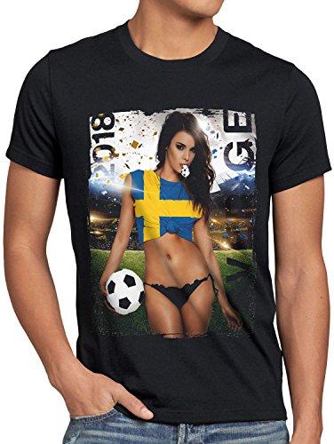 style3 WM 2018 Soccer Girl Deutschland Herren T-Shirt Fußball Trikot Germany Schwarz, Größe:L, Land:Schweden (Schweden-fußball-t-shirt)