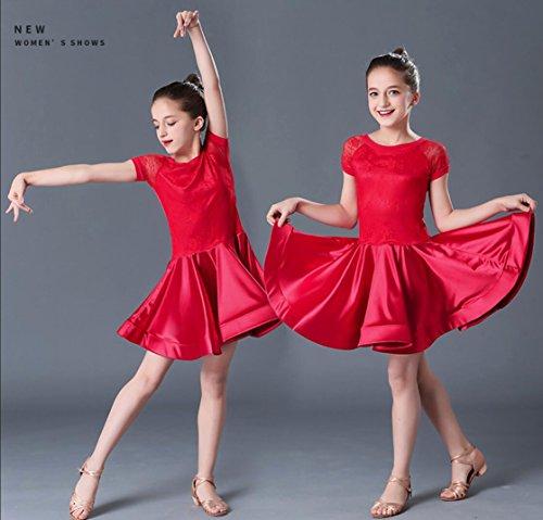 Kinder Latin Tanzkleid Spitze kurzärmelige Kinder Mädchen Latin Dance Kostüm Training Trainingskleidung, 1, ()