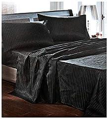 Idea Regalo - Completo MATRIMONIALE RASO NERO set lenzuola sopra sotto con angoli 2 fodere cuscini