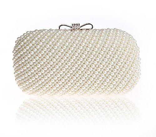 Perlen Abend Handtasche (HONGCI Glitter Faux Perle Perlen Braut Handtasche Hochzeit Abend Band Rhinestone Embedded Frame Geldbörse (Beige))