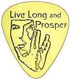 """Unique & Custom [0.38mm Jauge de mince–Style traditionnel Semi Tip] rigide de luxe médiator de guitare en laiton massif véritable W/Live Long and Prosper Star Trek Spock Motif """"Doré Jaune coloré"""" {Unique Pick}..."""