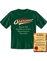 zum 65. Geburtstag Set T-Shirt und Urkunde - OLDTIMER BAUJAHR 1952 - kein Rost nur leichte Gebrauchsspuren Topzustand Gr: in dunkelgrün : )