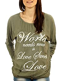 Shirt Bluse Top Sweatshirt Longsleeve Vokuhila Tunika Pailletten Druck Print
