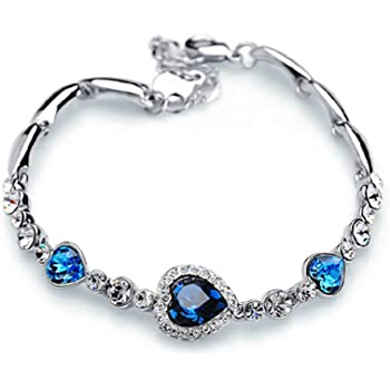 Charming Women's Austrian Crystal Titanic Inspired Heart of Ocean Bangle Bracelet (Ocean Blue)