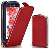 Samsung Galaxy S3 Mini Hülle Rot [OneFlow 360° Klapp-Hülle] Etui thin Handytasche Dünn Handyhülle für Samsung Galaxy S3 Mini S III Case Flip Cover Schutzhülle Kunst-Leder Tasche
