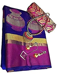 Clothsfab Women's Cotton Silk Ready Pleated Saree (Mataka Saree...._Blue)