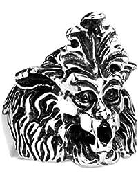 SonMo Anillos Hombre Retro Anillo de Cráneo de León Anillo Acero Numeros Romanos,Plata(
