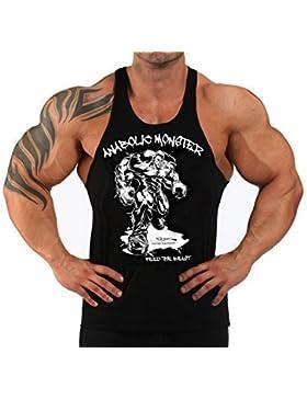 Bodybuilding musculación-Camiseta de tirantes para hombre, diseño de Monster ''Anabolic negro Talla:medium
