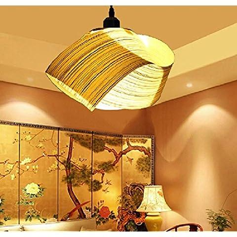 CHJK BRIHT Il sud-est asiatico di impiallacciatura cinese illumina Ciondolo ristorante rustico studio soggiorno l
