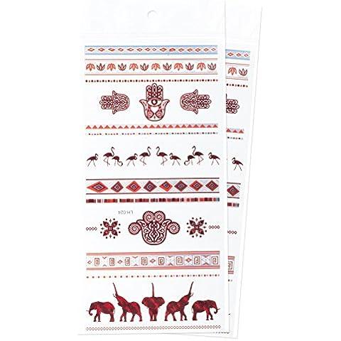 Zooky® Braccialetto e simboli Elefante Fenicottero Gioielli Tatuaggi temporanei impermeabili, adesivi metallici per corpo LH-024, set 2 pezzi, Rosso