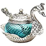 HappyMaa White Metal Duck Shape Single Bowl With Tray Set