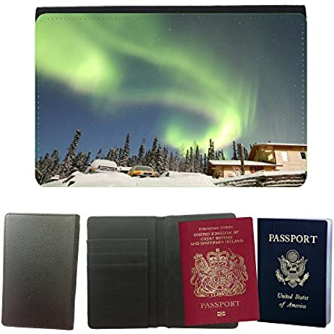 Couverture de passeport // M00170160 Aurora Borealis Alaska Casa Nieve // Universal passport leather cover